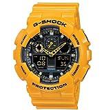 CASIO G-Shock GA-100A-9AER - Reloj de caballero de cuarzo, correa de resina color amarillo (con alarma, cronómetro, luz)