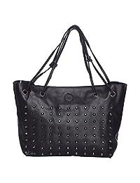 Iva Artificial Leather Black Hand Bag & Sling Bag Pack Of 2