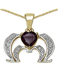 Mother's Day Special: 1.10CTW Genuine Garnet & White Topaz .925 Sterling Silver 14K Yellow Gold Plated Pendant...