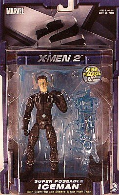 Marvel 2 Xmen 2 Super Poseable Iceman Figure with Light up Ice Blasts and Ice Wall Tray and 33 Poa Portrayed By Shawn Ashmore