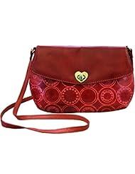 Arpera Embossed Genuine Leather Sling Bag Red C11517-3