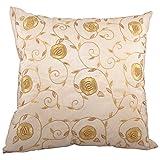 Svisti Raw Silk Single Piece Cushion Cover-Beige, 40.64 Cm X 40.64 Cm - B00N3NYKMK