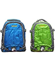 GLEAM BLUE & GREEN POLYESTER SCHOOL BAG (set Of 2 Bags)