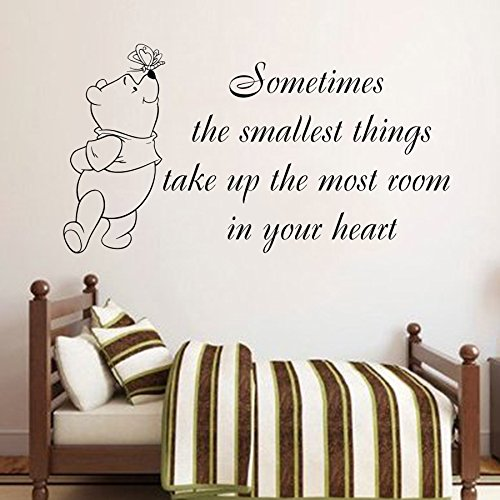 Wall Decals Quote Winnie Pooh Small Thing in Heart Vinyl Sticker Baby Boy Girl Bedroom Nursery Home Decor L344