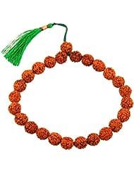 Jewels River Five Faceted Rudraksha Beaded Bracelet With Green Tassel