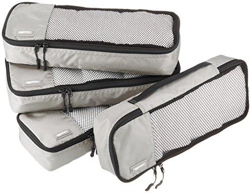 AmazonBasics Lot de 4sacoches de rangement pour bagage TailleSlim, Gris