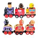 Train Model, FINER Set of 6 Wooden Magnetic Bread-shape Little Train Model of Anpanman Educational Toys