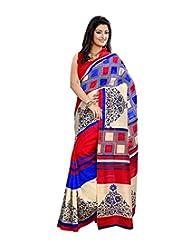 Anu Designer Self Print Saree (6412B_Multi-Coloured)