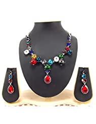 9blings Bollywood Style Jewelary Silver Chain Cubic Zirconia Multicolour Necklace Set 1103342