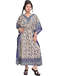 Exotic India Pearled-Ivory And Blue Kaftan With Printed Paisleys And Dori - Blue