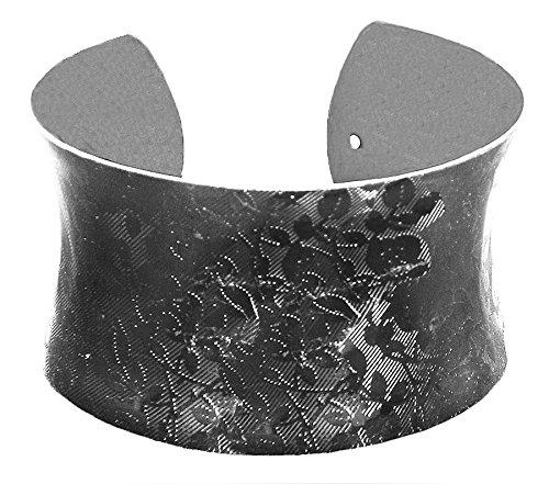 DollsofIndia Black Carved Metal Cuff Bracelet - Metal - Black - B00VNWR4XA