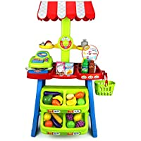 Velocity Toys Super Market Food Stall Childrens Kids Pretend Play Toy Food Play Set W/ Toy Cash Register, Pretend...