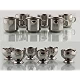 Combo Stainless Steel Ice Cream Set 12 Pieces + Tea / Coffee Cup Set Of 6