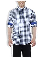Nick&Jess Mens Blue&Cream Herring Bone Checkered Slim Fit Shirt