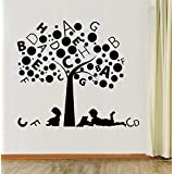 Hoopoe Decor Kids Studying Under Alphabet Tree Wall Stickers And Decals - B00XEVUMB4