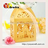 Generic White : Lovely Gold Lace Bride And Groom Wedding Favor Box With White Or Ivory Ribbon Decoration Box For...