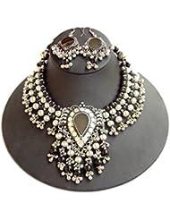 GiftPiper Oxidized Metal Navratri Jewellery Set-Mirror&Tassels