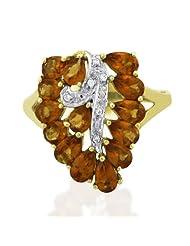 Carillon India Natural Hessonite & Cz Ring 925 Sterling Silver Leaf Shape Designer Fashion Ring