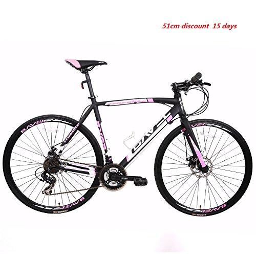 BAVEL Ultra Light Aluminum 21 Speed 700C Road Bike Racing Bicycle Shimano 48cm/54cm (black + white, 51)