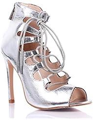 Narrow Sexy Open Peep Toe Lace Up Back Zipper Womens 4.5 Corset High Heels Pumps Proms Sandals Party Dress Shoes