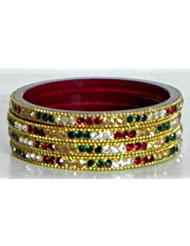 Red, Green And White Stone Studded Bangles - Metal
