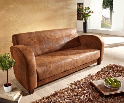 Sofa Vernice 195x90 cm Braun Wildlederoptik 3-Sitzer Couch