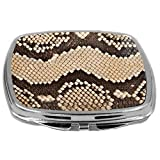 Rikki Knight Photo Of Snake Design Compact Mirror, Mosaic Leather Texture, 3 Ounce