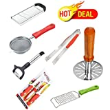 Combo Of 7 Kitchen Tools Vegetable & Fruit & Potato Super Slicer Made From Stainless Steel (Plain) + Kitchen Knife...