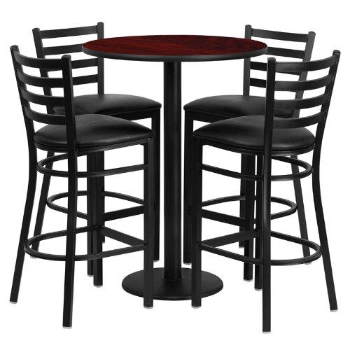 Flash Furniture 30'' Round Mahogany Laminate Table Set with
