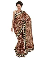 Bachhawat Women's Manipuri Cotton Saree (Krishangi_18046, Red & Black)