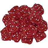 AsianHobbyCrafts Satin & Tissue Stone Ribbon Rose Flower: (51 MM): Pack Of 24 Pcs (Red)