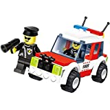 Speed Car 77 Pcs Building Blocks Set Of A Pioneer Police Unit 4 X4 Jeep With All Terrain Off Road Tires And Siren...