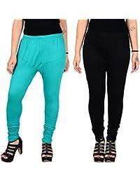 Aashirya Churidar Cotton Lycra Women Leggings Sea Green Legging & Black Legging