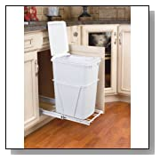 35Qt Pull-Out Garbage Bin with Lid White