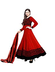 Suchi Fashion Embroidered Red Georgette Semi Stitched Party Wear Suit