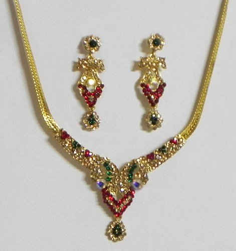 Yellow,Red And Green Stone Studded Necklace With Earrings - Stone