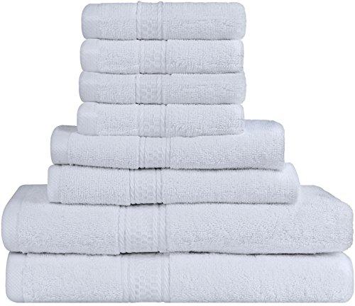Premium 8 Piece Towel Set (White); 2 Bath Towels, 2 Hand Towels...
