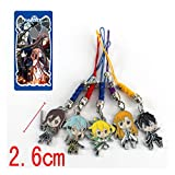 Anime Sword Art Online Fairy Dance Metal Figure Pendants Phone Rope Phonestarps 5pcs/set