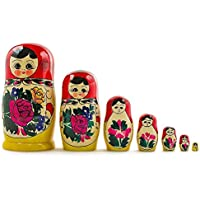 "7"" Set Of 7 Semenov Hand Painted Wooden Matryoshka Traditional Russian Nesting Dolls"