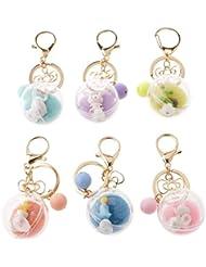 Charming Acrylic Ball Cute Little Animals Charm Pendant Keychain Keyfob Kids Women Xmas Gift Random