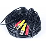 100ft Surveillance Camera Cables Black BNC+DC30 All-in-One BNC Video And Power Cable Wire Cord With Connector...