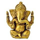 "Redbag - Lord Seated Ganesha Brass Statue (4.75""H X 3.75""W X 2""D)"