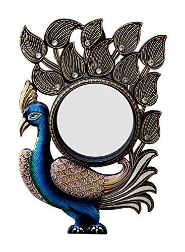 Divraya Wood Peacock Wall Mirror (30.48 Cm X 4 Cm X 45.72 Cm, DA136)
