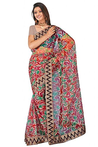 Sehgall Saree Indian Bollywood Designer Ethnic Professional Net Print With Fancy Border Saree Sari - B00OFO8S6K