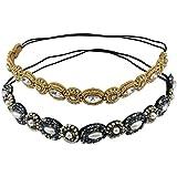Navy Blue + Gold : Yueton Pack Of 2 Handmade Crystal Rhinestone Beads Elastic Headband Hair Band Women Hair Accessories...