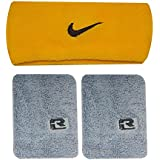 RZ World Yellow And Grey Wrist Band And Head Band Set For Him And Her - B01C2T45V6
