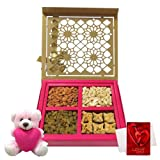 Elegant Treat Of Dry Fruits And Baklava With Teddy And Love Card - Chocholik Premium Gifts