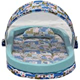 Amardeep And Co Mattress With Mosquito Net And Bumper Guard Animal (Blue) - NT-06-blue-animal-print 0-2 Years...