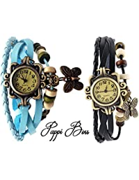 Pappi Boss Set Of 2 Vintage Leather Black & Sky Blue Butterfly Bracelet Casual Analog Watch For Girls, Women - Combo Offer