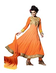 Mantra Fashion Orange Color Floral Thread Embroidery Work & Lace Border Work Anarkali Salwar Kameez